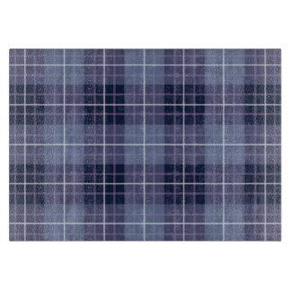 格子縞パターン青及び紫色 カッティングボード