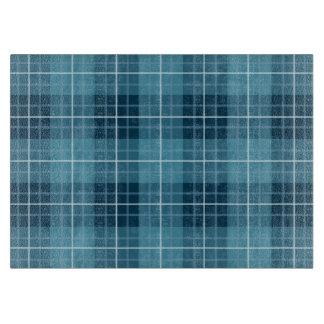 格子縞パターン青 カッティングボード