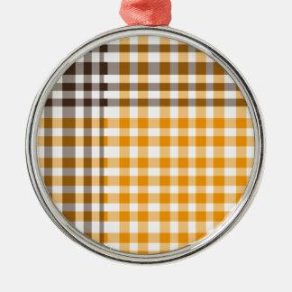 格子縞ブラウンおよび黄色 メタルオーナメント