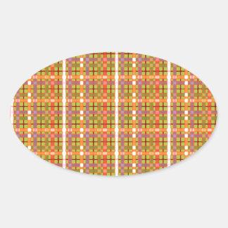 格子縞酸の緑の背景パターン 卵型シール