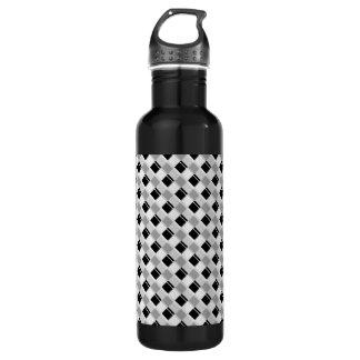格子縞3色の白 ウォーターボトル