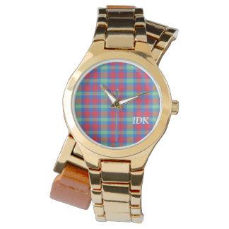 格子縞|の明るい赤、緑および青 腕時計