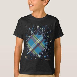 格子縞、点検およびタータンチェックの3D (ばちゃばちゃ)跳ねる Tシャツ