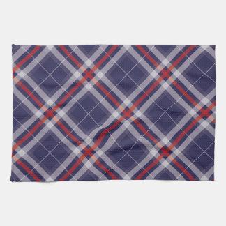格子縞、点検、タータンチェックの白く赤い青 キッチンタオル