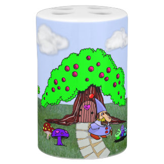 格言の妖精の家の歯ブラシスタンド及び石鹸ポンプ バスセット