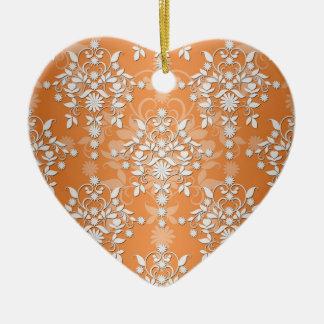 桃色の蜜柑および白い花のダマスク織 陶器製ハート型オーナメント