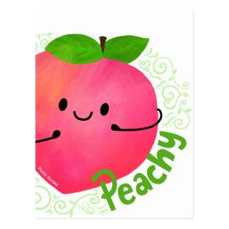 桃色前向きなモモのしゃれ- ポストカード
