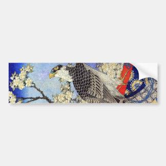 桜にハヤブサ、《鳥》ハヤブサ及び桜、Hokusai、Ukiyo-e バンパーステッカー