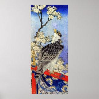 桜にハヤブサ、《鳥》ハヤブサ及び桜、Hokusai、Ukiyo-e ポスター