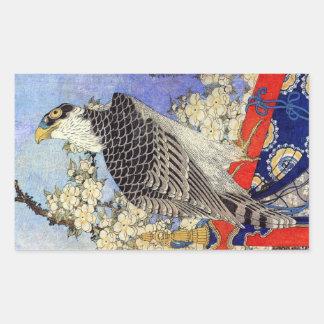 桜にハヤブサ、《鳥》ハヤブサ及び桜、Hokusai、Ukiyo-e 長方形シール