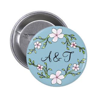 桜のイニシャルボタン 5.7CM 丸型バッジ