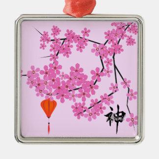 桜のデザイン-正方形の陶磁器のオーナメント メタルオーナメント