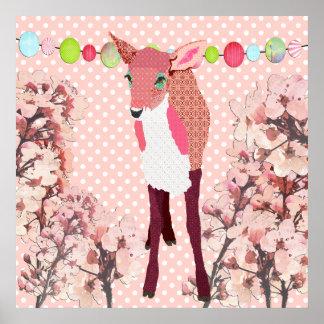 桜のピンクの子鹿のPok点ポスター ポスター
