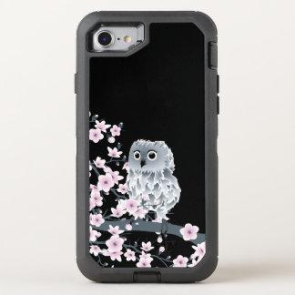 桜のフクロウのかわいい動物のガーリー オッターボックスディフェンダーiPhone 8/7 ケース