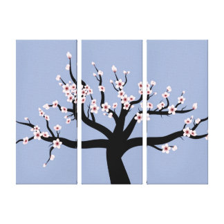 桜のベクトル芸術のトリプティク キャンバスプリント