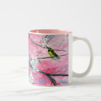 桜のマグの中のフィンチ ツートーンマグカップ