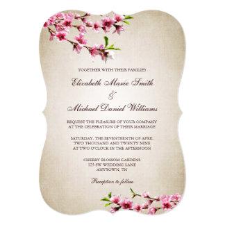 桜のヴィンテージのタンのピンクの結婚式 カード