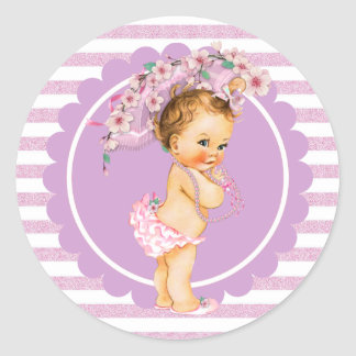 桜のヴィンテージの小さいプリンセスの赤ん坊Sticke ラウンドシール