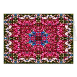 桜の万華鏡のように千変万化するパターンの挨拶状 グリーティングカード