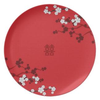 桜の二重幸福の中国のな結婚式 プレート