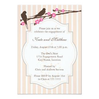桜の婚約パーティの招待状の鳥 12.7 X 17.8 インビテーションカード