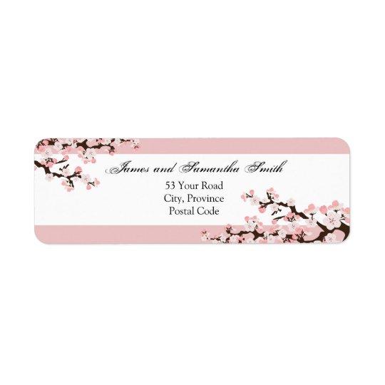 桜の差出人住所ラベル-ピンクの白 ラベル