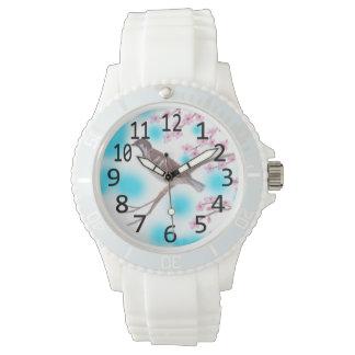 桜の木の空の腕時計のすずめ 腕時計