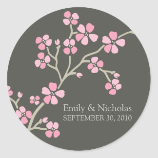 桜の結婚式招待状のシール(ピンク) ラウンドシール