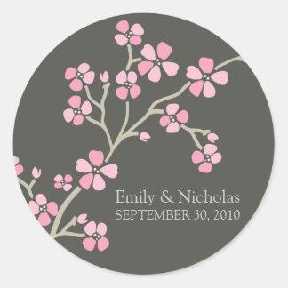 桜の結婚式招待状のシール(ピンク) 丸型シール