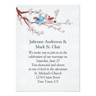 桜の結婚式招待状の愛鳥 カード