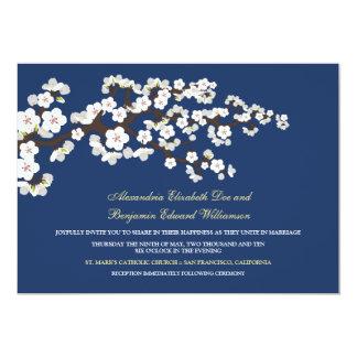 桜の結婚式招待状(濃紺) カード