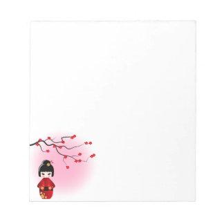 桜の花の日本のなkokeshiの人形 ノートパッド