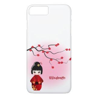 桜の花の日本のなkokeshiの人形 iPhone 8 plus/7 plusケース