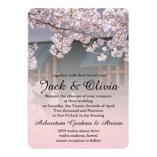 桜の花の結婚式招待状 カード