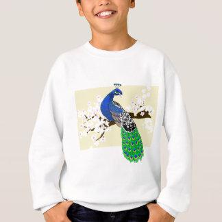 桜の花を持つエレガントな孔雀 スウェットシャツ