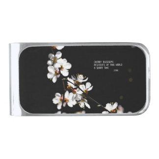 桜の花 銀色 マネークリップ