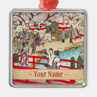 桜の観覧のshiroの笠松町橋芸術 メタルオーナメント