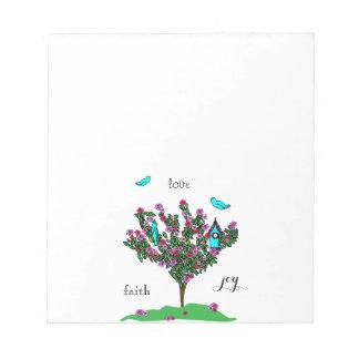 桜の鳥の木のモノグラム愛信頼の喜び ノートパッド