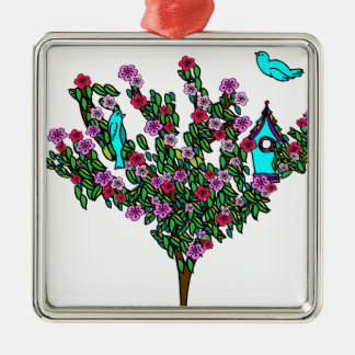 桜の鳥の木のモノグラム愛平和喜び メタルオーナメント