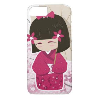 桜のKokeshiのかわいい人形 iPhone 8/7ケース