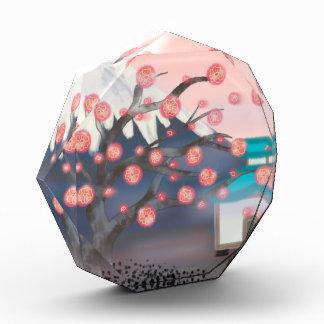 桜アジア山ガラスの文鎮 表彰盾