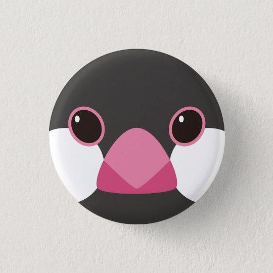 桜文鳥-Java sparrow(black) 3.2cm 丸型バッジ
