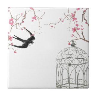 桜、つばめ、鳥かごのデザイン タイル