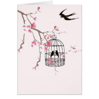 桜、つばめ、鳥かご-圧倒します カード