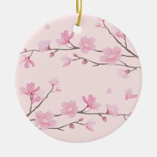 桜-ピンク-ハッピーバースデー セラミックオーナメント