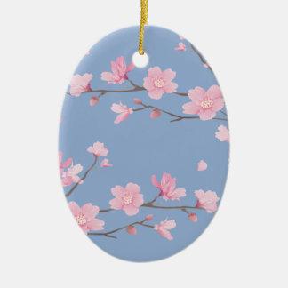 桜-平静の青ハッピーバースデー セラミックオーナメント