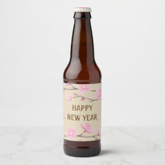 桜-明けましておめでとう ビールラベル