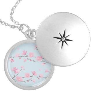 桜-透明背景 シルバープレートネックレス