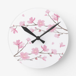 桜-透明背景 ラウンド壁時計