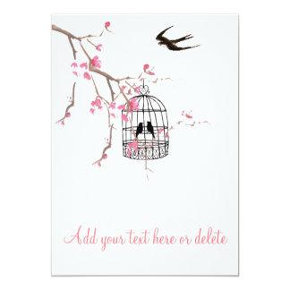 桜、鳥かご、鳥カード、招待 カード